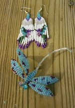 Butterfly pin and earrings
